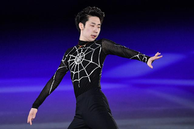 <p>China's Jin Boyang performs during the figure skating gala event during the Pyeongchang 2018 Winter Olympic Games at the Gangneung Oval in Gangneung on February 25, 2018. / AFP PHOTO / Mladen ANTONOV (Photo credit should read MLADEN ANTONOV/AFP/Getty Images) </p>