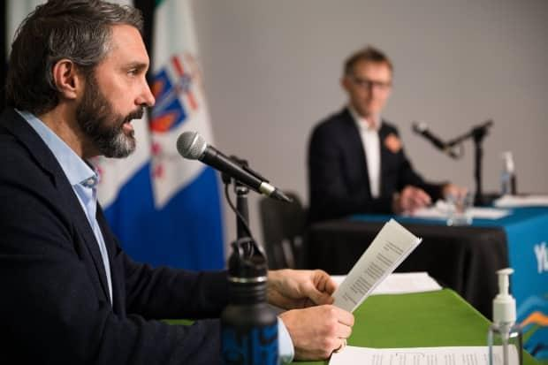 Yukon Premier Sandy Silver and Chief Medical Officer Dr. Brendan Hanley said Wednesday that more COVID-19-related restrictions in the territory will be lifted soon. (Alistair Maitland/Government of Yukon - image credit)