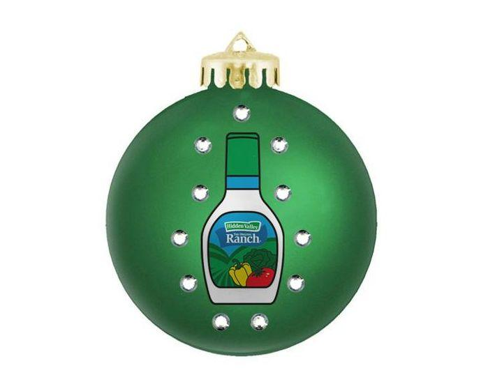 "Buy the <a href=""https://www.flavourgallery.com/collections/hidden-valley-ranch/products/hidden-valley-bedazzled-ornament"" target=""_blank"">Hidden Valley bedazzled ornament</a> for $12"