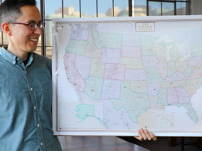 Gusto CEO Josh Reeves, map