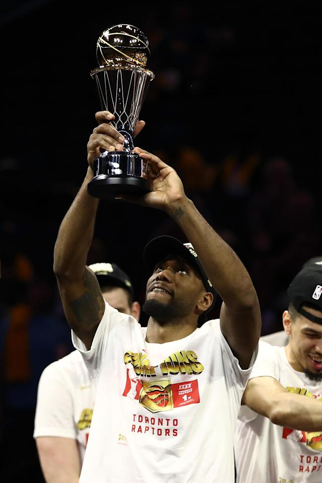 Kawhi Leonard #2 of the Toronto Raptors is awarded the MVP after his team defeated the Golden State Warriors to win Game Six of the 2019 NBA Finals at ORACLE Arena on June 13, 2019 in Oakland, California. (Photo by Ezra Shaw/Getty Images)
