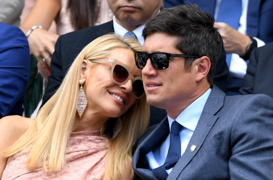 LONDON, ENGLAND - JULY 03: Tess Daly and Vernon Kay attend day 3 of the Wimbledon Tennis Championships at the All England Lawn Tennis and Croquet Club on July 03, 2019 in London, England. (Photo by Karwai Tang/Getty Images)