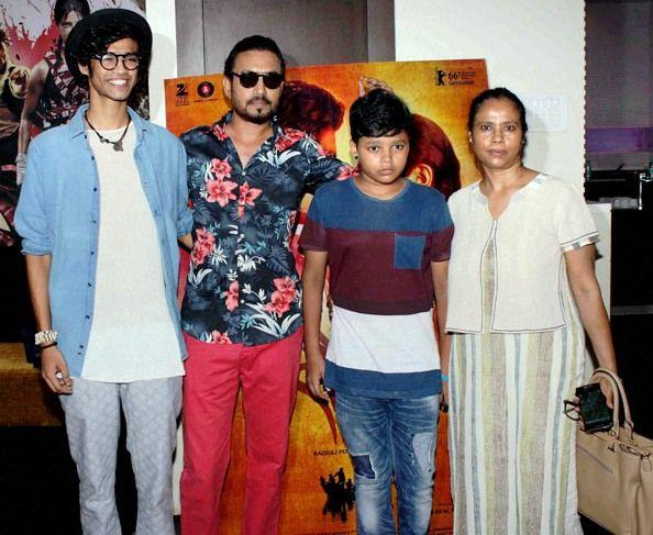 Irrfan Khan with his family.