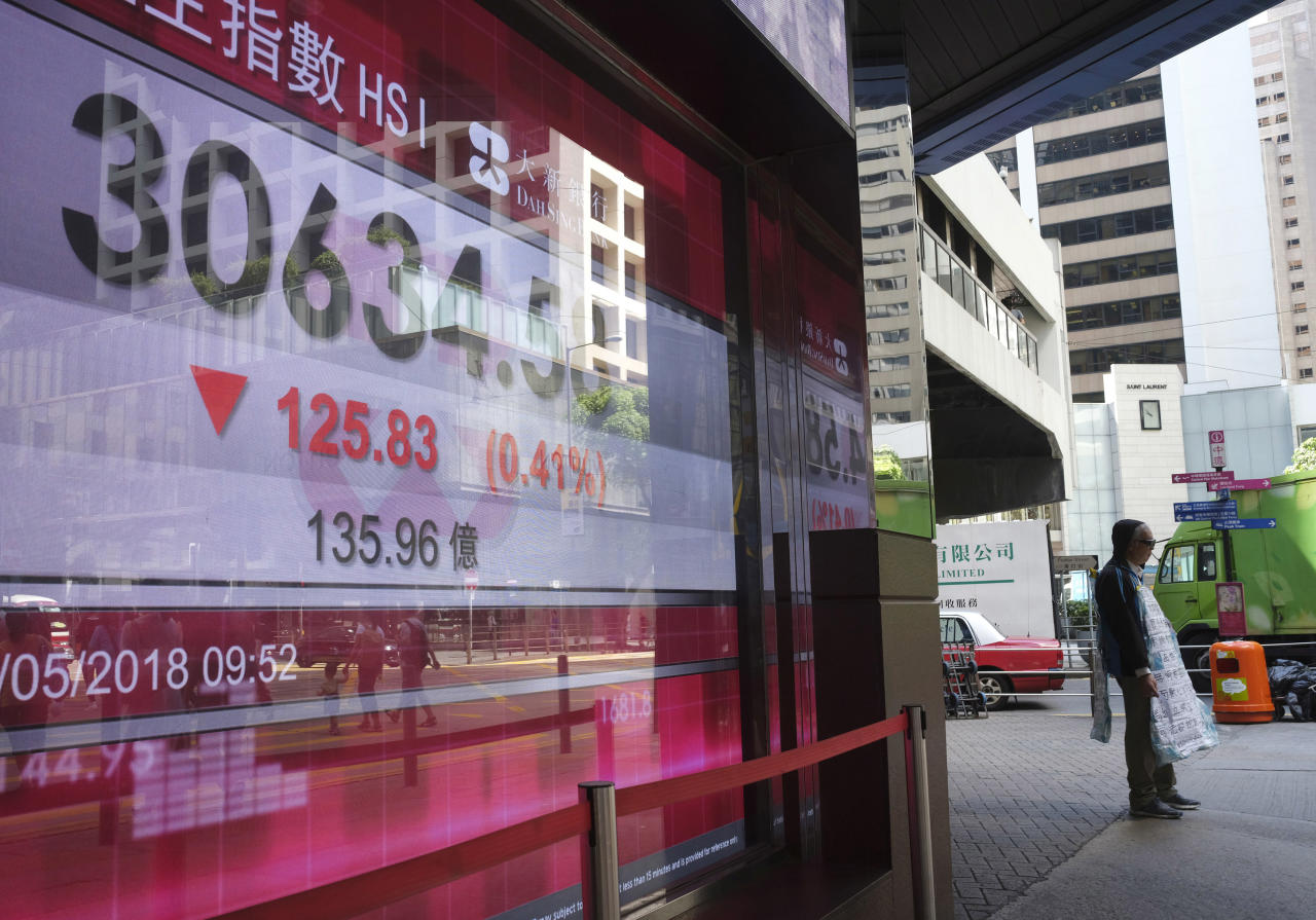 A man stands next to a bank electronic board showing the Hong Kong share index at Hong Kong Stock Exchange Friday, May 25, 2018. Asian stock indexes were mostly lower Friday as investors factored in fresh geopolitical uncertainty following the abrupt cancellation of a meeting between the U.S. and North Korean leaders. (AP Photo/Vincent Yu)
