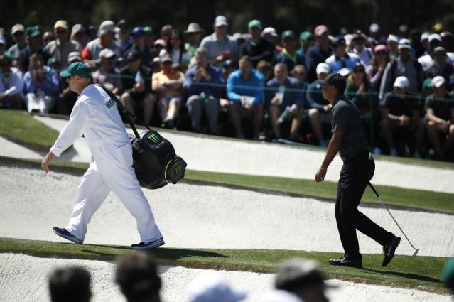 Tiger Woods of the U.S. walks up the 7th green during first round play of the 2018 Masters golf tournament at the Augusta National Golf Club in Augusta, Georgia, U.S., April 5, 2018. REUTERS/Mike Segar