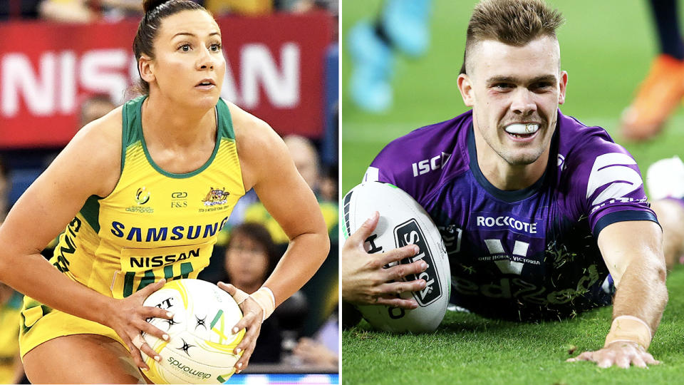 Kelsey Browne and Ryan Papenhuyzen, pictured here in their respective sports.