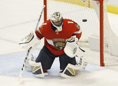 Oct 12, 2017; Sunrise, FL, USA; Florida Panthers goalie Roberto Luongo (1) makes a save in the third period of a game against the St. Louis Blues at BB&T Center.  Robert Mayer-USA TODAY Sports