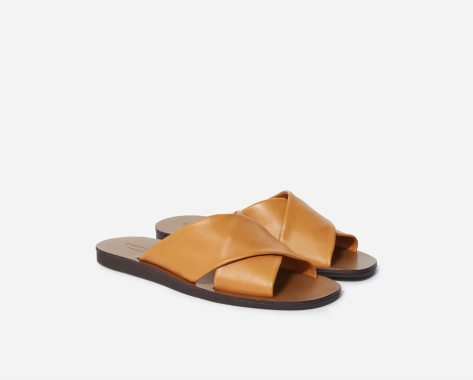 The Day Crossover Sandal in Golden Brown (Photo via Everlane)