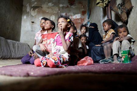 People displaced from the Red Sea port city of Hodeidah sit in a host family's house where they live on the outskirts of Sanaa, Yemen July 10, 2018. REUTERS/Khaled Abdullah
