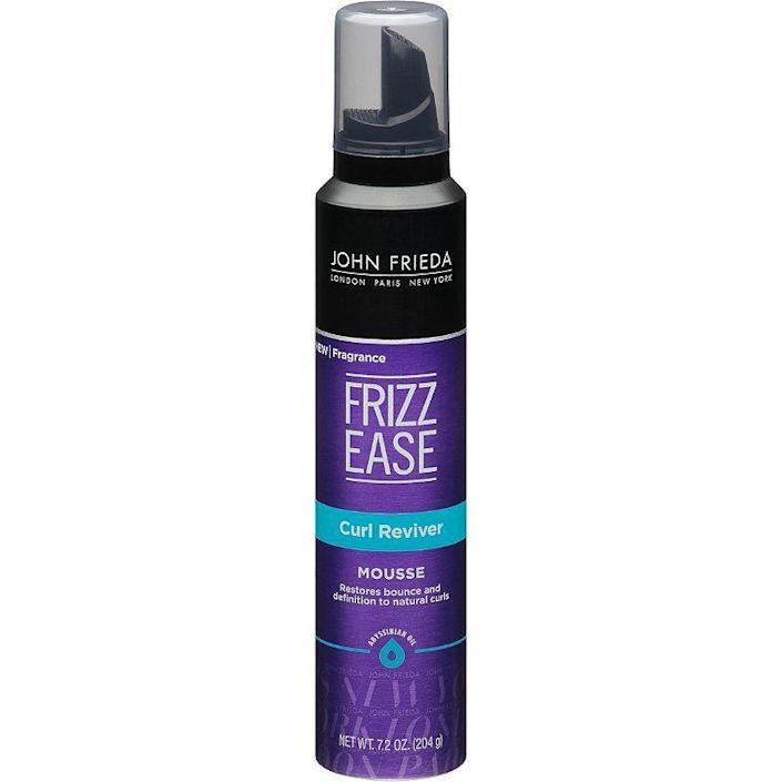"""<p><strong>John Frieda</strong></p><p>amazon.com</p><p><strong>$6.99</strong></p><p><a href=""""https://www.amazon.com/dp/B006OHM1M8?tag=syn-yahoo-20&ascsubtag=%5Bartid%7C10051.g.36740831%5Bsrc%7Cyahoo-us"""" rel=""""nofollow noopener"""" target=""""_blank"""" data-ylk=""""slk:Shop Now"""" class=""""link rapid-noclick-resp"""">Shop Now</a></p><p>For curls that need volume and definition, this mousse will do that without too much crunch, weird flakes, or that uncomfortable brittle feeling.</p>"""