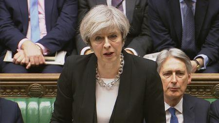 Britain's Prime Minister Theresa May speaks in Parliament the morning after an attack in Westminster, London
