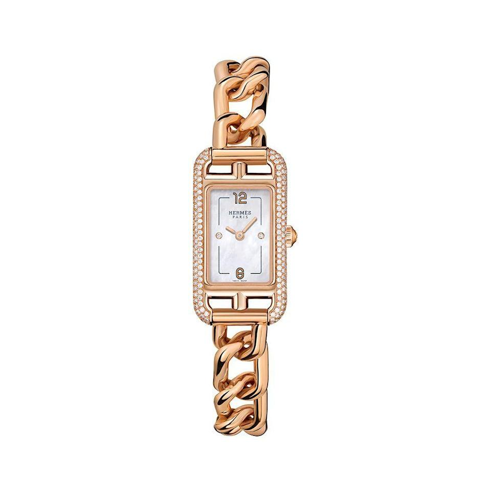 "<p><strong>Hermes</strong></p><p>Hermes</p><p><strong>$18850.00</strong></p><p><a href=""https://www.hermes.com/us/en/product/nantucketwatch-17-x-23mm-W049572WW00/"" rel=""nofollow noopener"" target=""_blank"" data-ylk=""slk:Shop Now"" class=""link rapid-noclick-resp"">Shop Now</a></p><p>Created in 1991 as a companion to their 'Cape Cod' watch, Hermes created the sophisticated timepiece 'Nantucket' inspired by the anchor chain links of their chaine d'ancre bracelet. The new model includes a beautiful white mother-of-pearl dial with two diamond-set chatons.</p>"