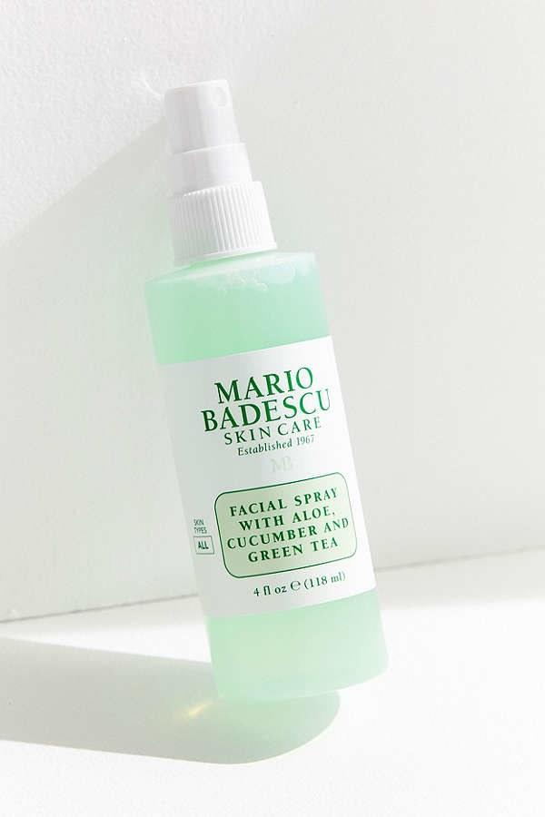 "$7, Mario Badescu Facial Spray With Aloe, Cucumber, and Green Tea. <a href=""https://www.urbanoutfitters.com/shop/mario-badescu-facial-spray-with-aloe-cucumber-and-green-tea?category=SEARCHRESULTS&color=000"">Get it now!</a>"