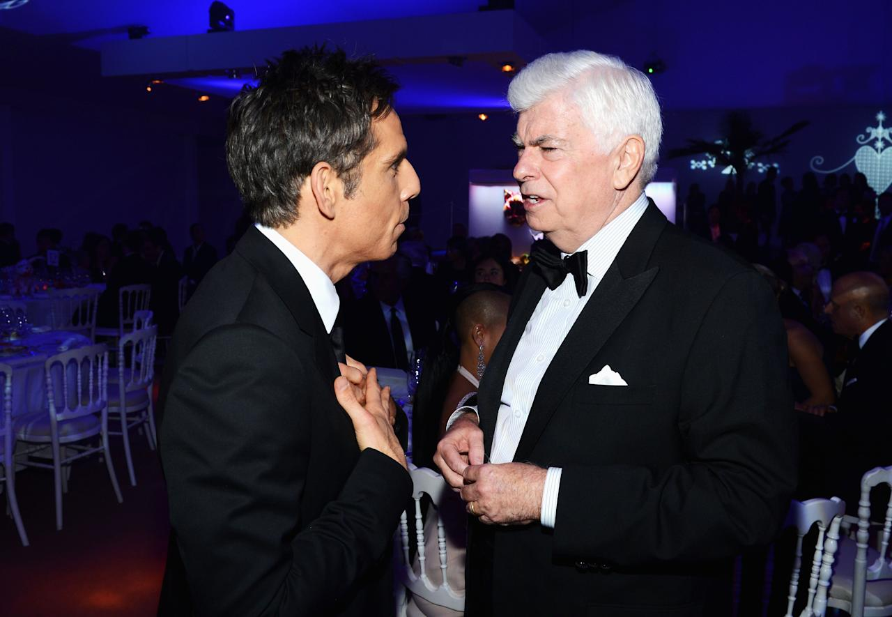 CANNES, FRANCE - MAY 18:  Ben Stiller and Senator Chris Dodd, Chairman and Chief Executive Officer of the Motion Picture Association of America talk at the Haiti Carnival In Cannes Benefitting J/P HRO, Artists For Peace and Justice & Happy Hearts Fund Presented By Armani during the 65th Annual Cannes Film Festival on May 18, 2012 in Cannes, France.  (Photo by Michael Buckner/Getty Images)