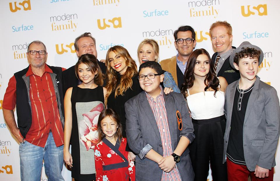 """arrives at USA Network Hosts """"Modern Family"""" fan appreciation day held at Westwood Village Theatre on October 28, 2013 in Westwood, California."""