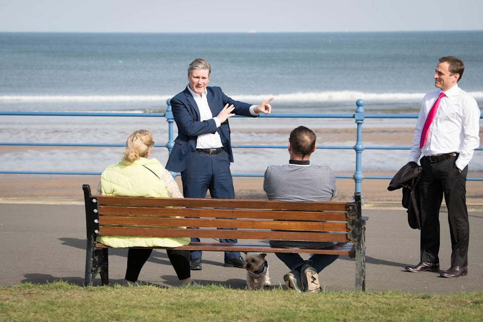 Labour Party leader Keir Starmer meets local people in Seaton Carew in County Durham during a day of campaigning for the Hartlepool by-election with the party's candidate, Paul Williams. (Photo: Stefan RousseauPA)