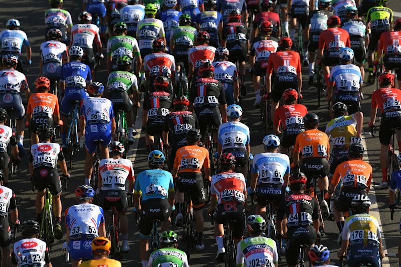 TAVIRA PORTUGAL FEBRUARY 21 Peloton Detail view during the 46th Volta ao Algarve 2020 Stage 3 a 2019Km stage from Faro to Tavira VAlgarve2020 on February 21 2020 in Tavira Portugal Photo by Tim de WaeleGetty Images