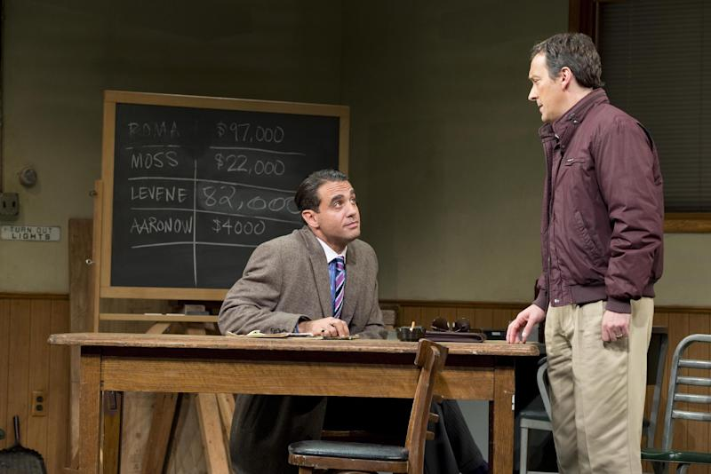 "This undated publicity photo released by Jeffrey Richards Associates shows Bobby Cannavale, left, and Jeremy Shamos in a scene from ""Glengarry Glen Ross"" at the Gerald Schoenfeld Theatre in New York. (AP Photo/Jeffrey Richards Associates)"