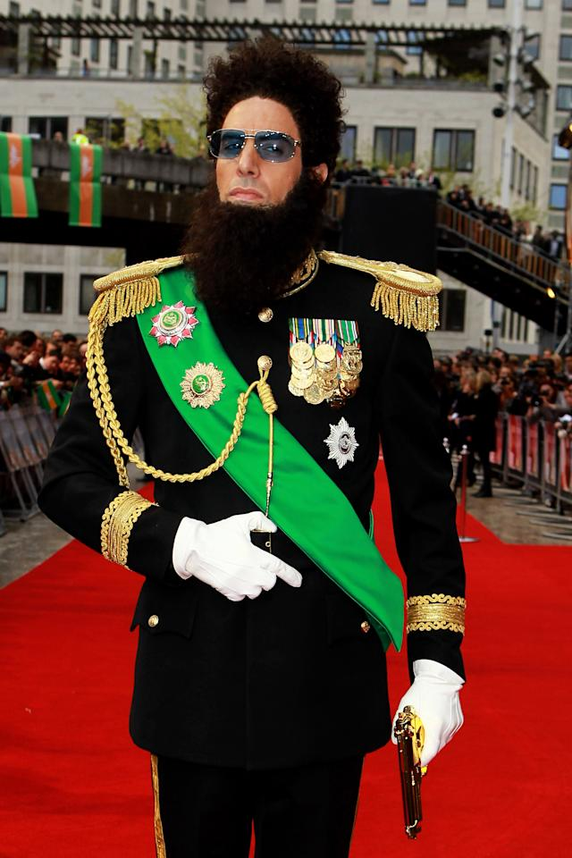LONDON, ENGLAND - MAY 10:  Sacha Baron Cohen dressed as his alter ego Admiral General Aladeen attends the World Premiere of 'The Dictator' at The Royal Festival Hall on May 10, 2012 in London, England.  (Photo by Fred Duval/Getty Images)