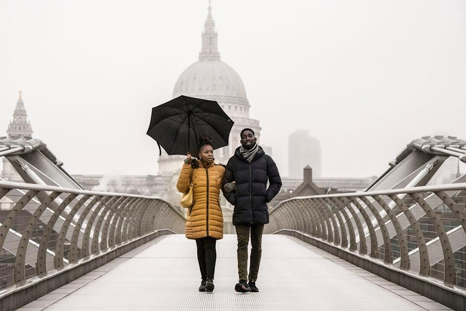 There's been hardly any snow on London this winter…but some did fall on the Millennium Bridge on January 13PA