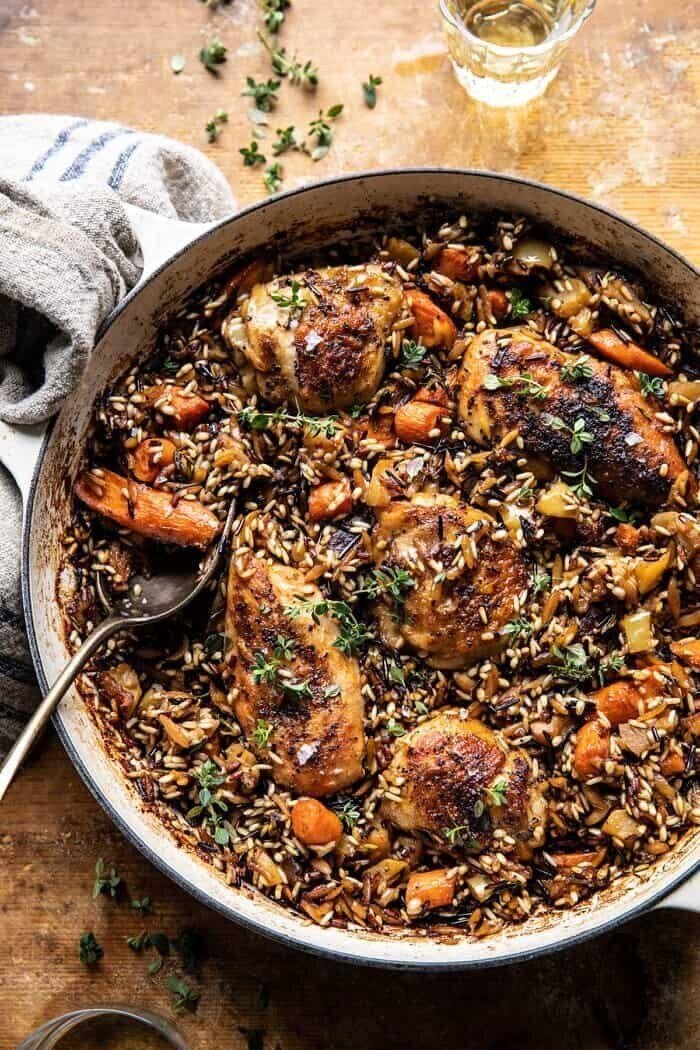 """<strong><a href=""""https://www.halfbakedharvest.com/lemon-rosemary-dijon-chicken/"""" target=""""_blank"""" rel=""""noopener noreferrer"""">One-Pot Lemon Rosemary Dijon Chicken and Butter-Toasted Rice Pilaf from Half Baked Harvest</a></strong>"""