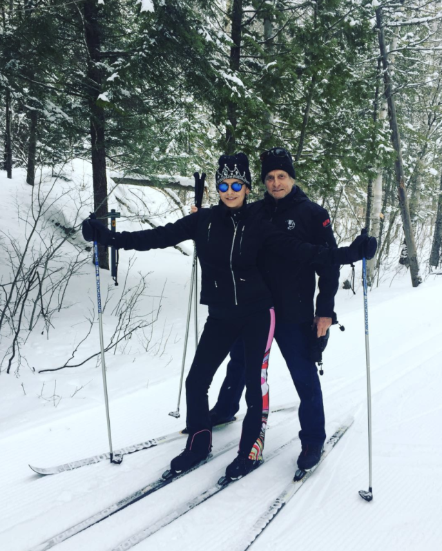 "<p>The actress and her husband, Michael Douglas, found a way to exercise while enjoying a winter wonderland. ""Cross country skiing this morning.,"" she wrote. ""So beautiful."" (Photo: <a href=""https://www.instagram.com/p/BgPpUS8gVig/?taken-by=catherinezetajones"" rel=""nofollow noopener"" target=""_blank"" data-ylk=""slk:Catherine Zeta-Jones via Instagram"" class=""link rapid-noclick-resp"">Catherine Zeta-Jones via Instagram</a>) </p>"