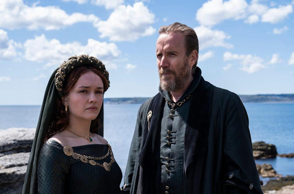 """Olivia Cooke as Alicent Hightower and Rhys Ifans as Otto Hightower in """"Game of Thrones"""" spin-off """"House of the Dragon."""""""