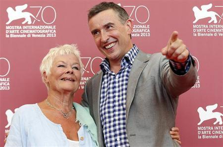 """Actors Dench and Coogan pose during a photocall for the movie """"Philomena"""", directed by Stephen Frears, during the 70th Venice Film Festival in Venice"""