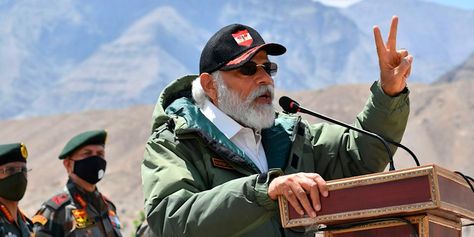 Prime Minister Narendra Modi addressing Indian troops in Ladakh.