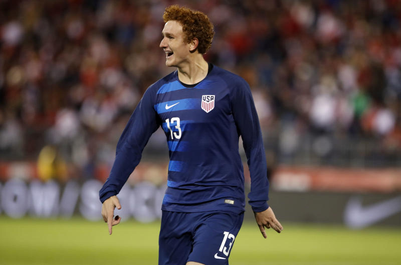 Oct 16, 2018; East Hartford, CT, USA; United States forward Josh Sargent (13) reacts after scoring against Peru in the second half during an international friendly soccer match at Pratt & Whitney Stadium. USA tied Peru 1-1. Mandatory Credit: David Butler II-USA TODAY Sports