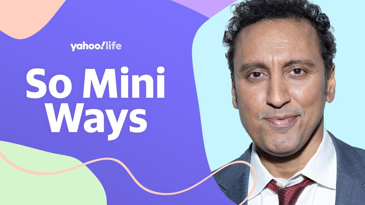 Aasif Mandvi opens up about welcoming his first child just as the pandemic hit. (Photo: Getty; designed by Quinn Lemmers)