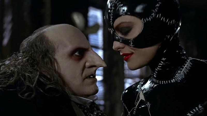 Danny DeVito and Michelle Pfeiffer in 'Batman Returns'. (Credit: Warner Bros)