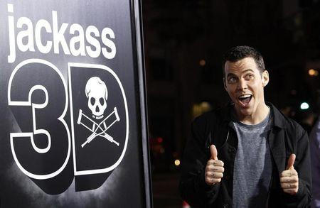 "Cast member Steve-O gestures at the premiere of ""Jackass 3D"" at Grauman's Chinese theatre in Hollywood"