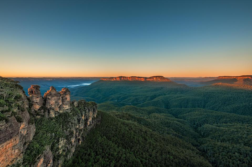 The Blue Mountains' Three Sisters at sunrise. Kurrajong, NSW is a small town that sits on the lower slopes of the Blue Mountains. <em>Photo: Getty</em>