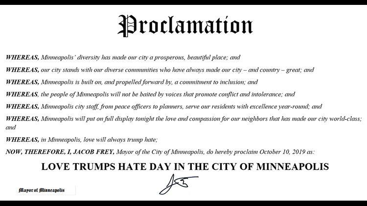 The proclamation of Love Trumps Hate Day in Minneapolis. (Photo: Screen Shot/KARE-TV)