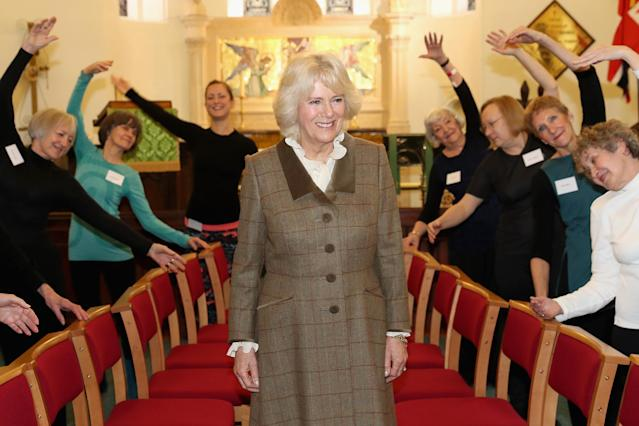 "Camilla, with members of the ""Silver Swans"" dance class in Bath. (Getty Images)"