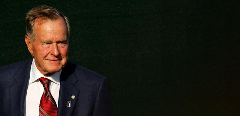 Former President of the United States George H.W. Bush looks on during opening ceremonies prior to the start of The Presidents Cup at The Royal Montreal Golf Club on September 26, 2007 in Montreal, Quebec, Canada.