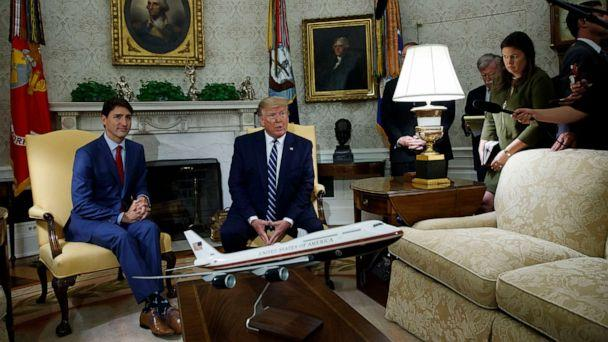 PHOTO: President Donald Trump meets with Canadian Prime Minister Justin Trudeau in the Oval Office of the White House on June 20, 2019, in Washington. (Evan Vucci/AP)