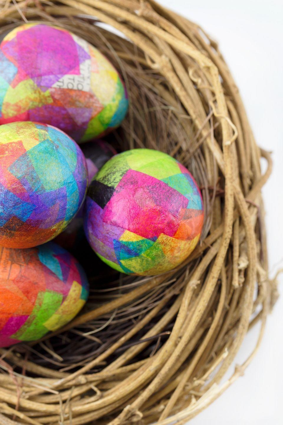 """<p>If traditional egg dyeing feels too been there, done that, use the papier-mâché technique to craft equally one-of-a-kind creations. </p><p><strong>Get the tutorial at <a href=""""https://www.firefliesandmudpies.com/papier-mache-easter-eggs/"""" rel=""""nofollow noopener"""" target=""""_blank"""" data-ylk=""""slk:Fireflies and Mud Pies"""" class=""""link rapid-noclick-resp"""">Fireflies and Mud Pies</a>.</strong> </p><p><a class=""""link rapid-noclick-resp"""" href=""""https://www.amazon.com/Mod-Podge-CS11303-Waterbase-Sealer/dp/B0009ILH8C/?tag=syn-yahoo-20&ascsubtag=%5Bartid%7C10050.g.1111%5Bsrc%7Cyahoo-us"""" rel=""""nofollow noopener"""" target=""""_blank"""" data-ylk=""""slk:SHOP MOD PODGE"""">SHOP MOD PODGE</a></p>"""