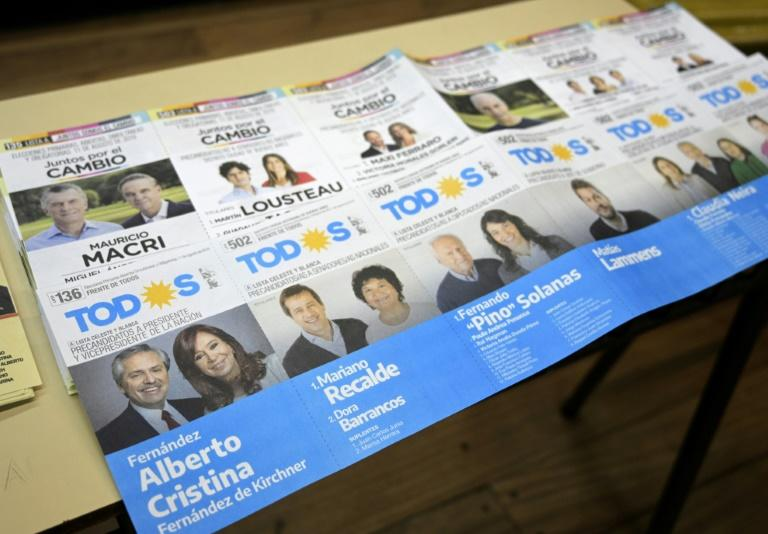 Ballot papers are seen at a polling station in Buenos Aires