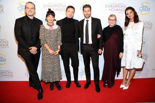 David Harbour, Lily Allen, Sebastian Stan, Adam Schweitzer, Dianne Wiest and Katie Holmes attend The Skin Cancer Foundation's Champions For Change Gala at The Plaza on October 17, 2019 in New York City.
