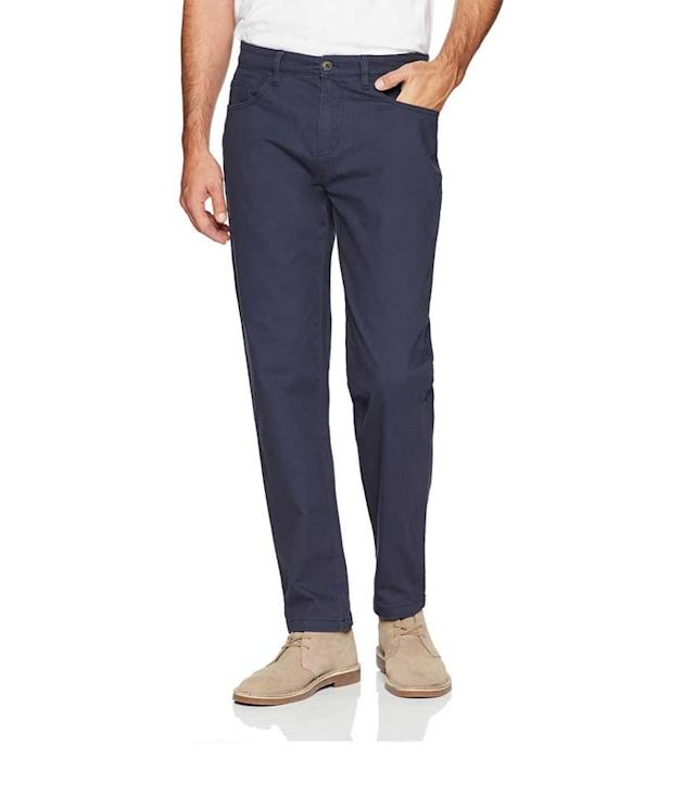 "<p>Men's Slim-Fit 5-Pocket Chino Pant in Navy, $30 + up to 50% off,<a href=""https://www.amazon.com/dp/B077RTHT1R/ref=twister_B0772ZMRQ3"" rel=""nofollow noopener"" target=""_blank"" data-ylk=""slk:amazon.com"" class=""link rapid-noclick-resp""> amazon.com</a> </p>"