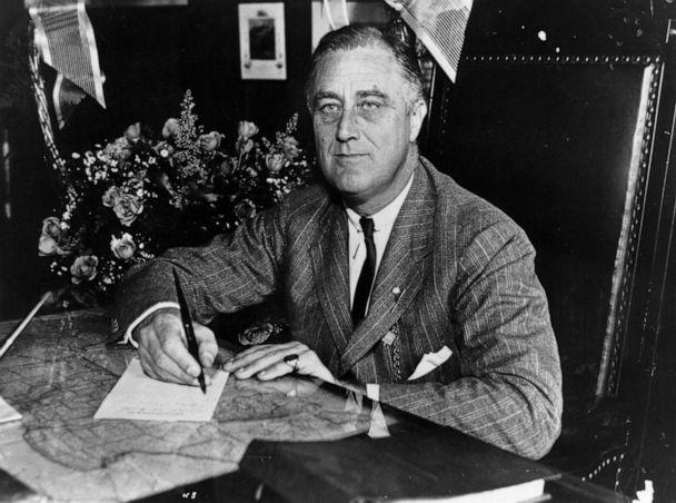 PHOTO: Franklin Delano Roosevelt, the 32nd President of the United States from 1933-45 works at his desk, circa 1936. (Keystone Features/Getty Images, FILE)