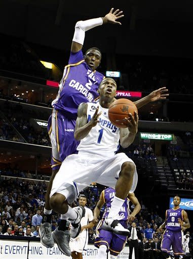 Memphis' Joe Jackson, bottom, drives to the basket as East Carolina's Maurice Kemp, back, tries to block his shot during first half action of an NCAA college basketball game at The FedExForum, Wednesday Feb. 22, 2012. (AP Photo/The Commercial Appeal, Mark Weber)