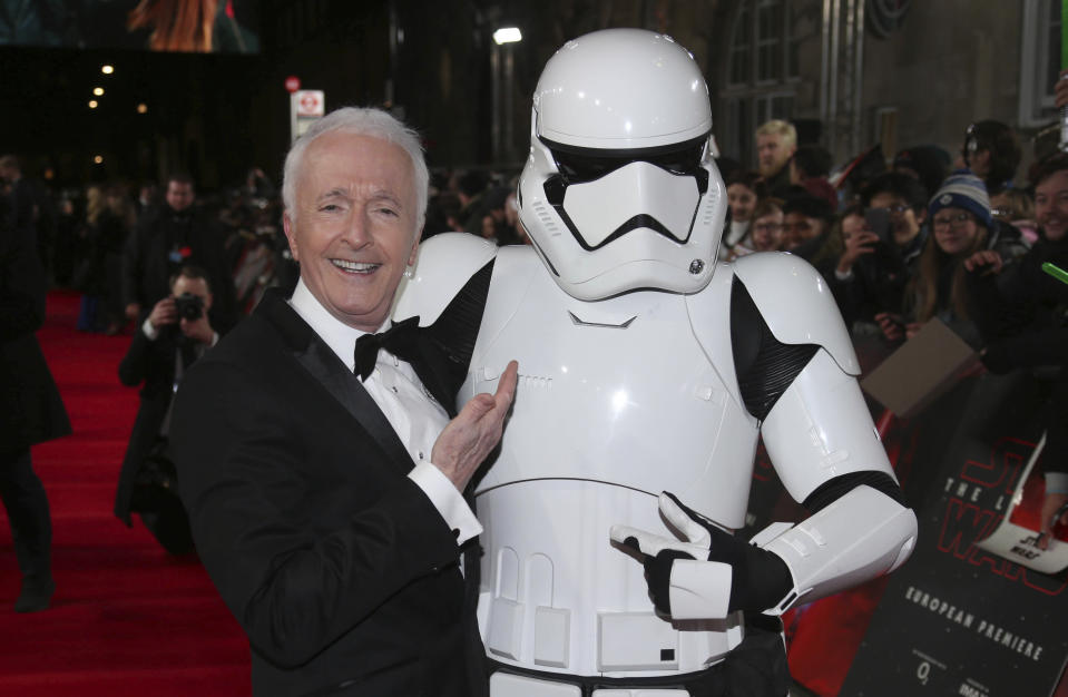 Anthony Daniels poses for photographers upon arrival at the premiere of the film 'Star Wars: The Last Jedi' in London, Tuesday, Dec. 12th, 2017. (Photo by Joel C Ryan/Invision/AP)