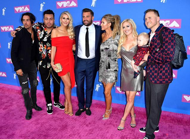 "From right, Spencer Pratt and Heidi Montag Pratt with son Gunner, Audrina Patridge, Jason Wahler with wife Ashley, Frankie Delgado, and Justin ""Justin Bobby"" Brescia at the 2018 MTV Video Music Awards. (Photo: Angela Weiss/AFP/Getty Images)"