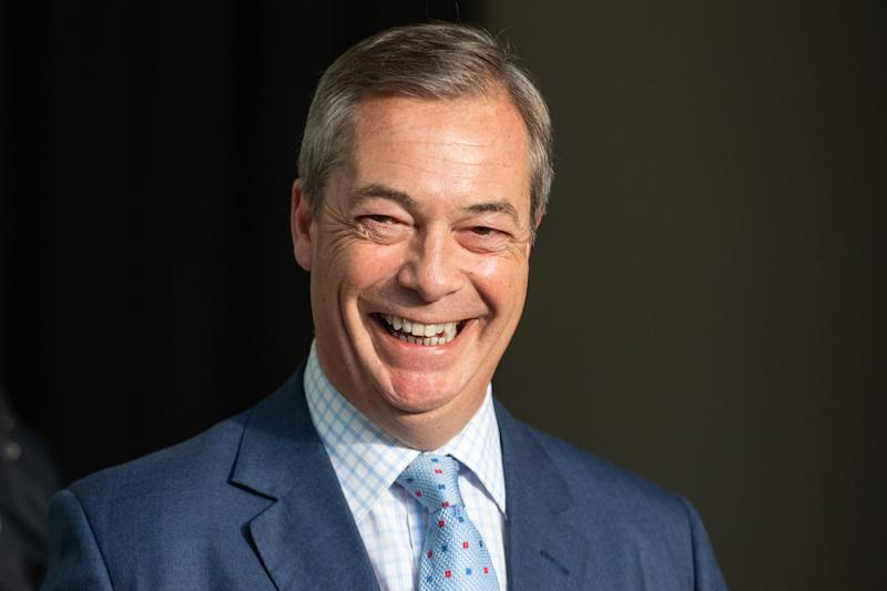 Brexit Party leader Nigel Farage leaves BBC Broadcasting House in London after appearing on the Andrew Marr show.