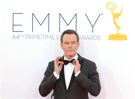 """Actor Bryan Cranston, of the drama series """"Breaking Bad,"""" arrives at the 64th Primetime Emmy Awards in Los Angeles in this September 23, 2012 file photo. REUTERS/Mario Anzuoni/Files"""