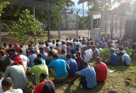 An undated image released November 10, 2017 shows detainees staging a silent protest inside the compound at the Manus Island detention centre in Papua New Guinea. Refugee Action Coalition/Handout via REUTERS
