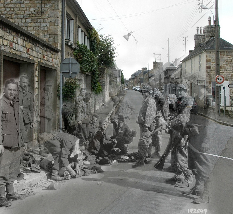 """German soldiers surrender in 1944, and modern-day Rue des Fosses Plissons in Domfront, Orne.<br><br>(<a href=""""http://www.flickr.com/photos/hab3045/collections/72157629378669812/"""" rel=""""nofollow noopener"""" target=""""_blank"""" data-ylk=""""slk:Courtesy of Jo Teeuwisse"""" class=""""link rapid-noclick-resp"""">Courtesy of Jo Teeuwisse</a>)"""